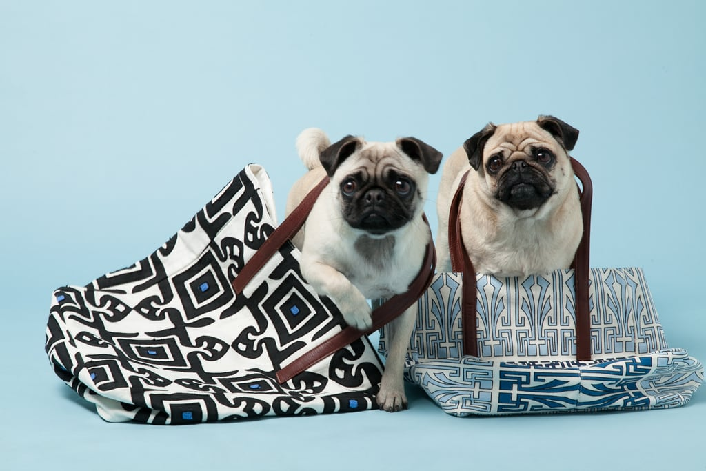 Gladys and Peggy with Suki Cheema's Blue Cotton Tattoo Tote, ($310) and Diamond Tile Cotton Tote ($355).
