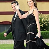 French President Nicolas Sarkozy and then wife Cécilia Sarkozy arrive at the opening dinner of the G8 summit in June 2007.