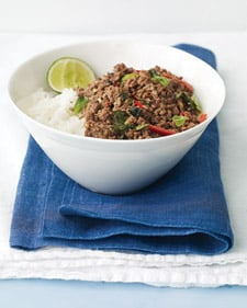 Fast, Easy Recipe for Spicy Thai Beef with Coconut Rice