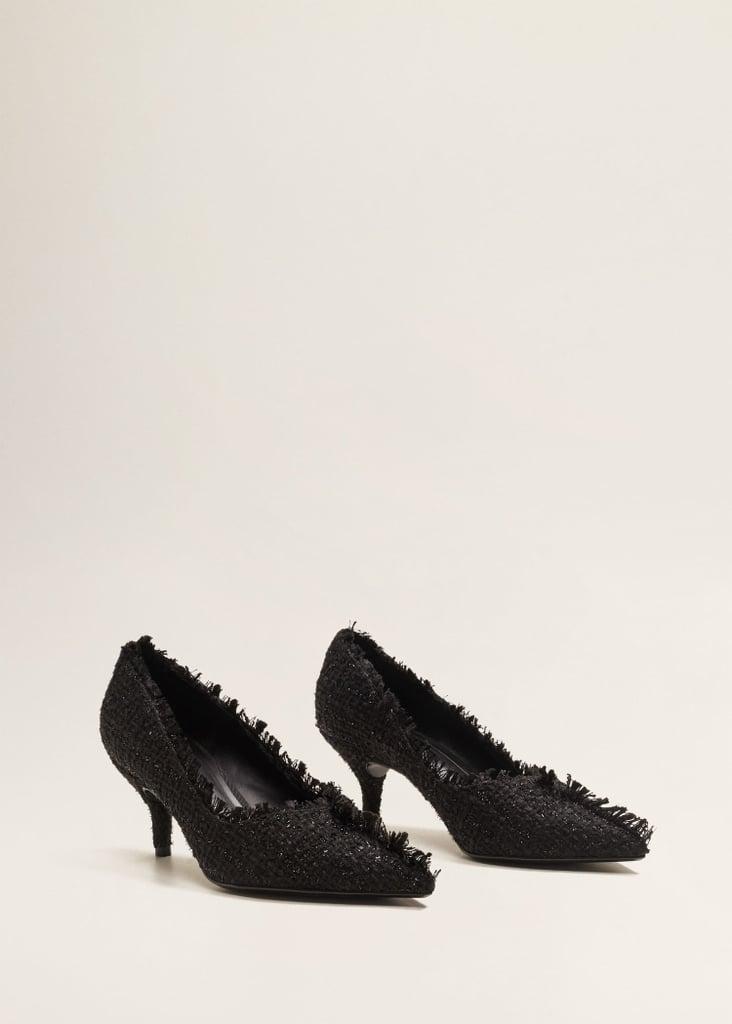 Mango Heel Tweed Shoes