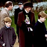 Although already separated, Prince Charles and Princess Diana left a church service in Sandringham, England, with their sons, Prince William and Prince Harry, in 1994.