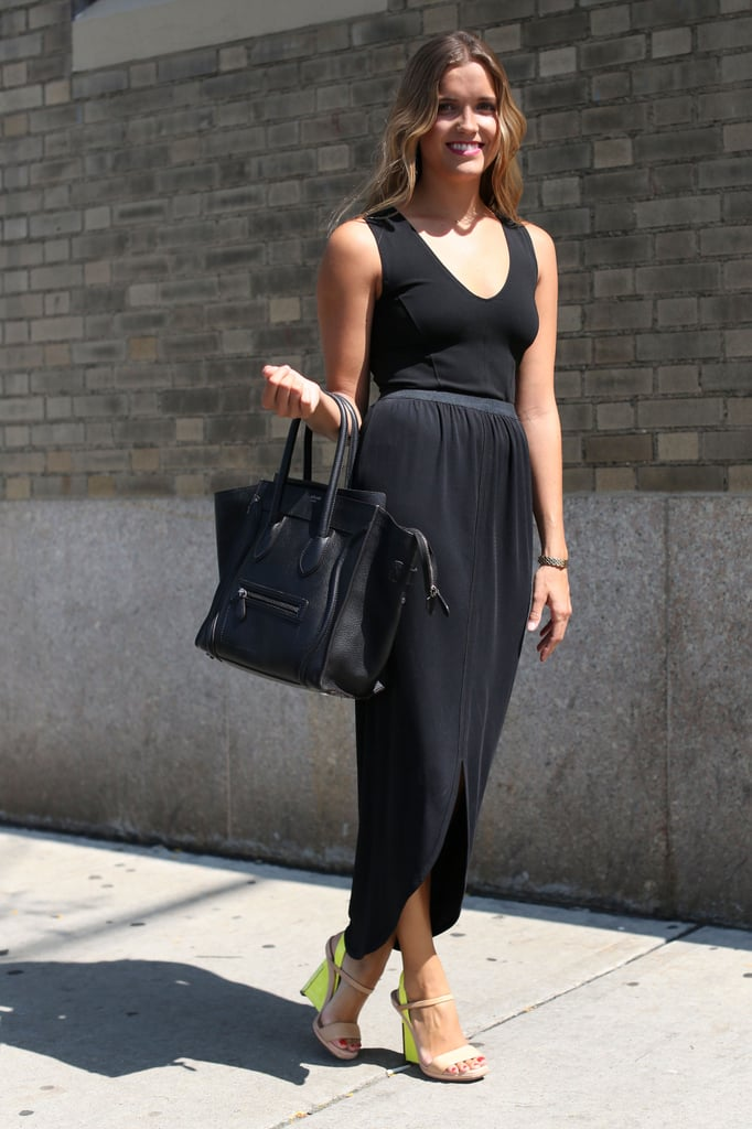 A black maxi with a black Céline and nude-and-neon sandals — easy and breezy.