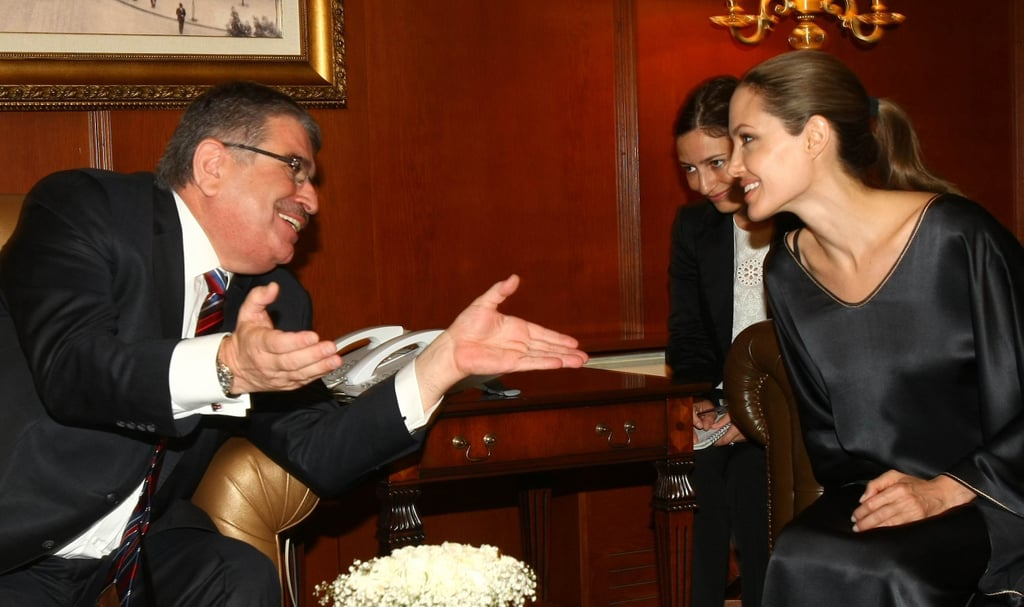 Angelina Jolie leaned in for a conversation.