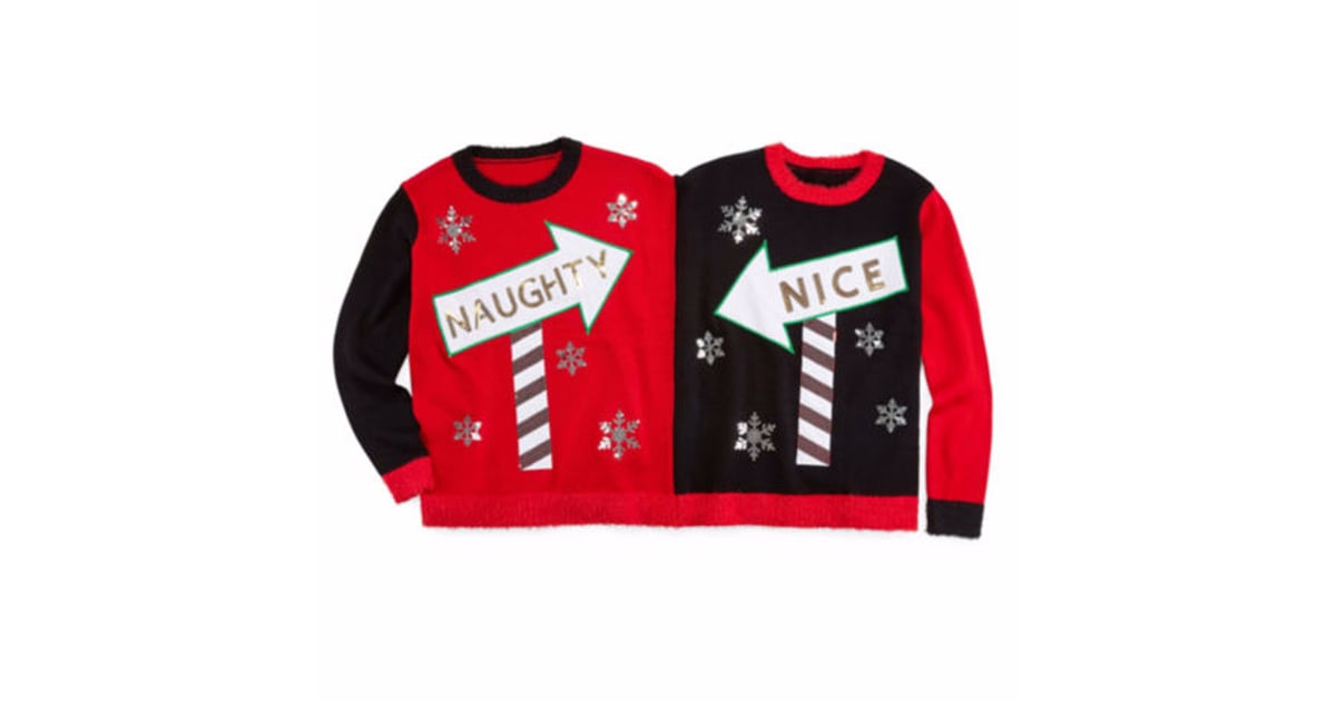 Naughty and Nice Two Person Christmas Sweater | How to Dress