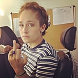 Jemima Kirke wasn't too happy about being photographed in the hair and makeup chair on the Girls set. Source: Instagram user lenadunham