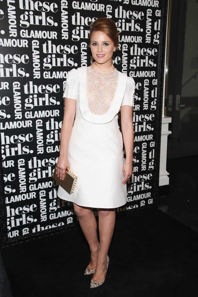 "Dianna Agron worked a retro-inspired white dress with snakeskin pumps and a gold box clutch at Glamour's ""These Girls"" event in NYC."