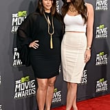 Kim Kardashian and Kylie Jenner at the MTV Movie Awards.