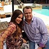Sofia Vergara and Eric Stonestreet posed for a quick pic by the pool on the Modern Family set. Source: Sofia Vergara on WhoSay