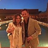 """Geri Halliwell tweeted this picture from the party, showing a cute moment with her fiancé, Christian Horner. """"Happy birthday David B , life begins at 40. Great party,"""" she wrote."""
