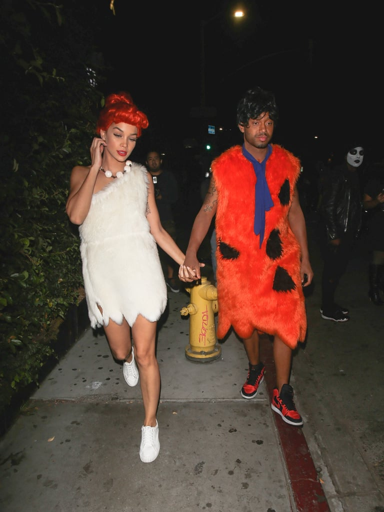 Jasmine Sanders and Terrence J as Wilma and Fred Flintstone