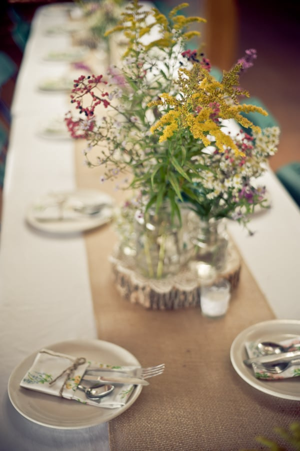 Stump and Burlap Table Toppers