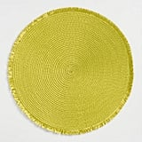 Round Green Polybraid Placemats With Fringe