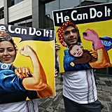 In Turkey, a couple wore parody versions of the iconic We Can Do It! propaganda posters.