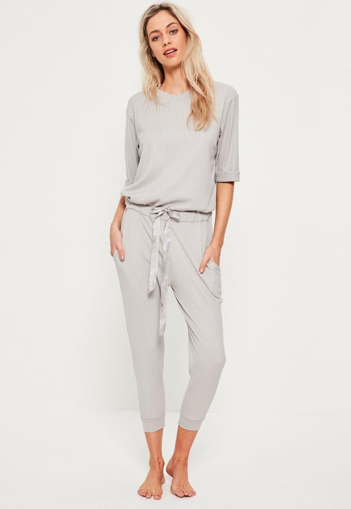 Missguided Grey Ribbed Slouch Lounge Romper ($40)