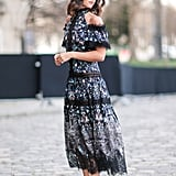 A Cold-Shoulder Dress and Pumps