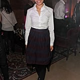 Frieda Pinto styled up a classic look, in a white button-down and ladylike pleats, for the Sundance evening festivities.