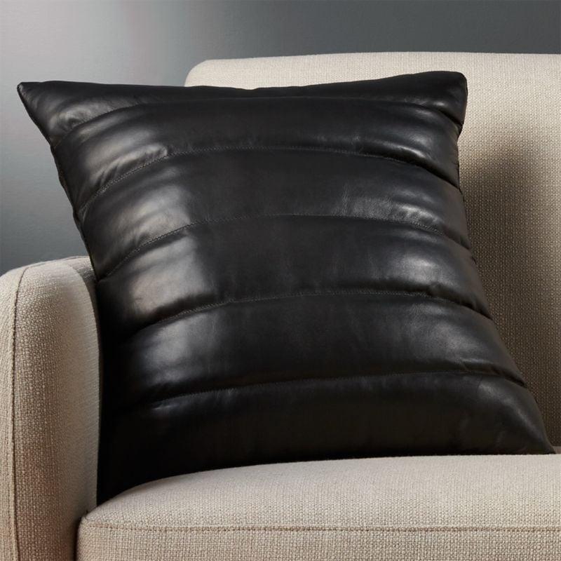 Renata: Izzy Black Leather Pillow With Down-Alternative Insert