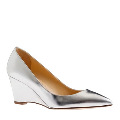 The walkable wedge and pointed toe say polished, but the silver finish on these J.Crew Everly metallic wedges ($248) tells a slightly more glamorous story.