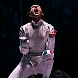 Fencer Valentina Vezzali of Italy had an emotional response after beating Korea's Hyun Hee Nam.