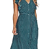 MITILLY Summer Boho Polka Dot Sleeveless V Neck Swing Midi Dress