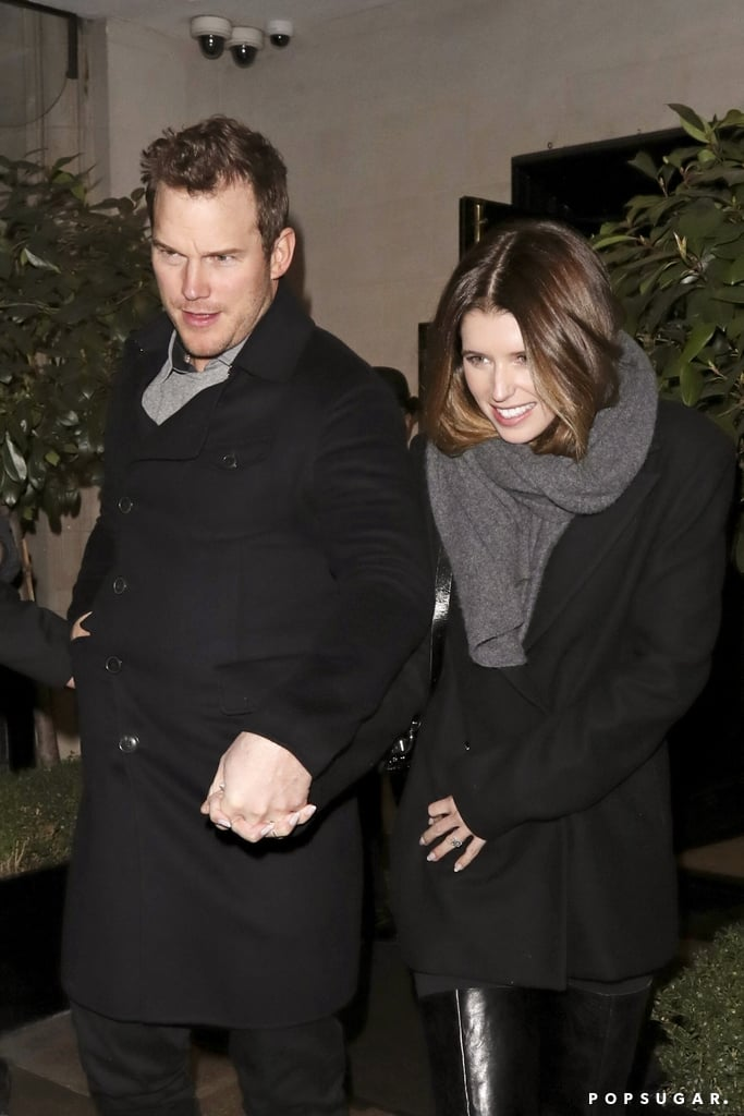 """Just weeks after getting engaged, Chris Pratt, 39, and Katherine Schwarzenegger, 29, were spotted out on a romantic dinner date at Scott's seafood restaurant in London on Monday night. The couple held hands and bundled up for the cold weather in color-coordinated outfits. At one point, Katherine even gave us a closer look at her stunning engagement ring, and all we have to say is, """"Damn!""""  Chris and Katherine first got together back in June 2018 following the actor's divorce from Anna Faris. The two have been going strong since then, and Katherine also seems to be close with Chris's 6-year-old son, Jack. Following the engagement announcement, Chris spoke to ET and revealed he wants """"lots of kids"""" with the lifestyle blogger. """"I always want to be that guy that works to live, not lives to work. I think [I want to spend] just a lot of time at the farm and a lot of time catching a lot of fish and seeing lots of sunsets,"""" he added. So, does this mean Chris and Katherine will be walking down the aisle soon? Only time will tell.       Related:                                                                                                           Katherine Schwarzenegger Spoke Her Romance With Chris Pratt Into Existence a Year Ago"""