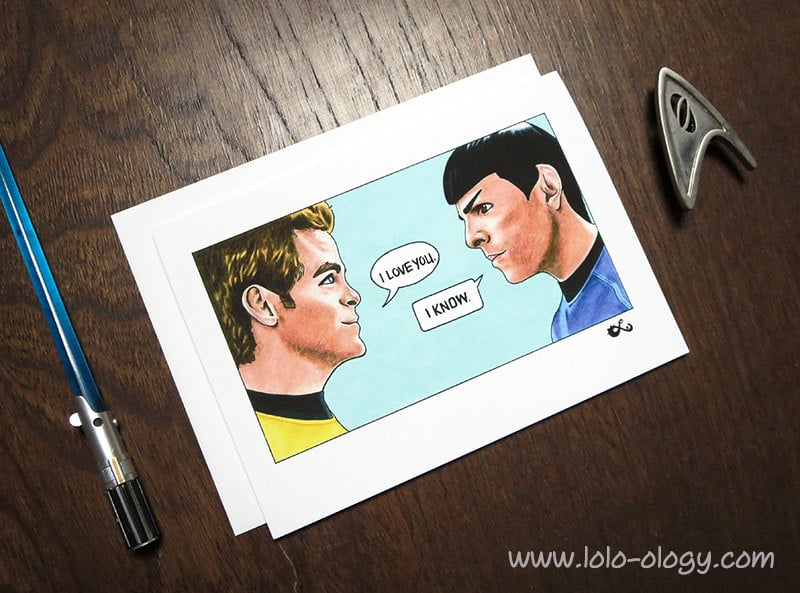 For those who can't choose in the war of the stars, this Star Trek/Star Wars mashup ($5) card is for you.