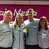 Swimmer Dana Vollmer was reunited with her family after her race.  Source: Twitter user danavollmer