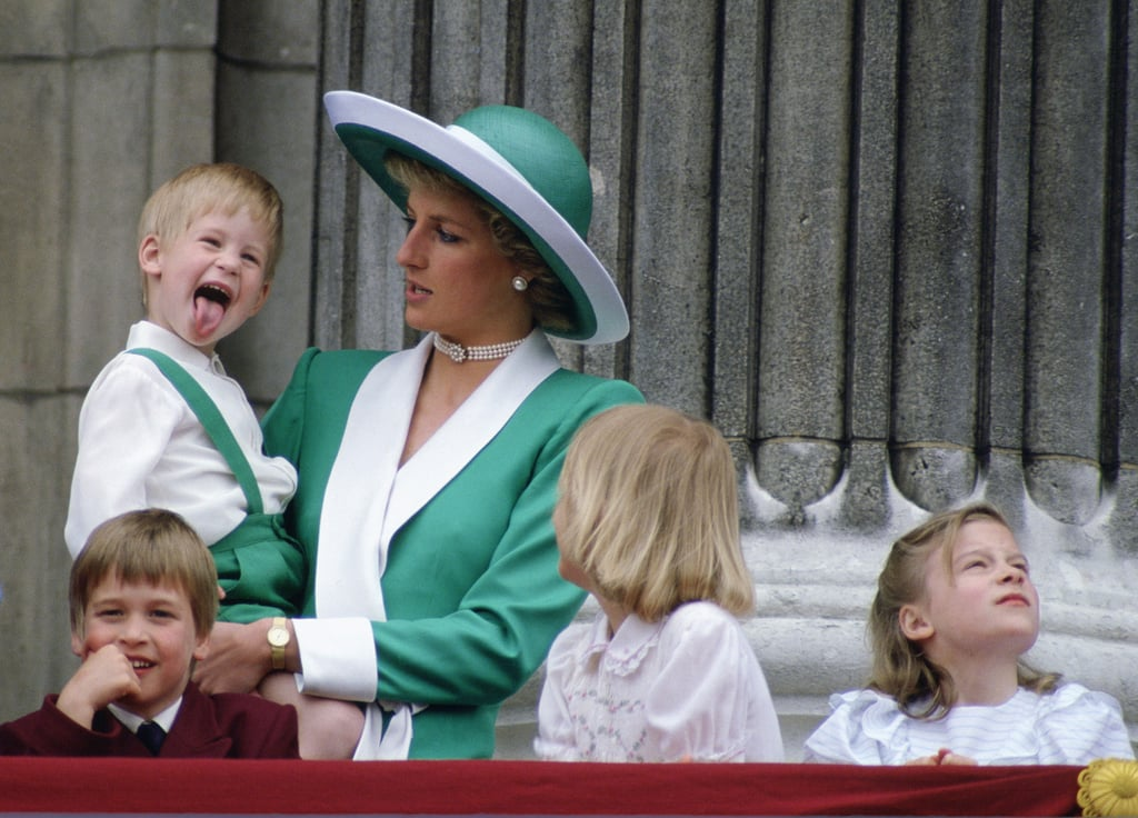 Little Harry playfully stuck out his tongue at Trooping the Colour in June 1988.