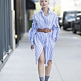 Belt an oversize shirt and just like that you've got a dress.