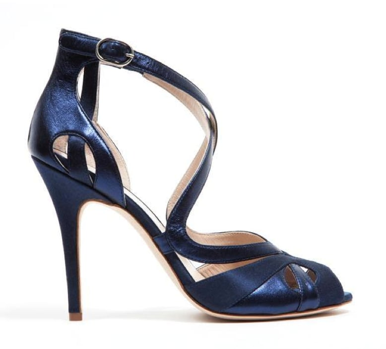 Monique Lhuillier Midnight Satin/Gloss Lam Sandal ($895)
