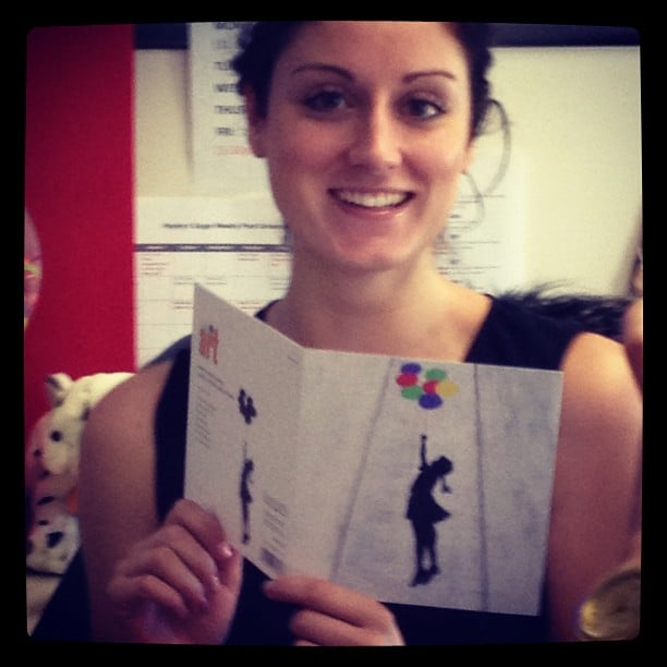 We promised we wouldn't cry... Sarah receiving her leaving present in her last few days as BellaSugar editor. Sob.