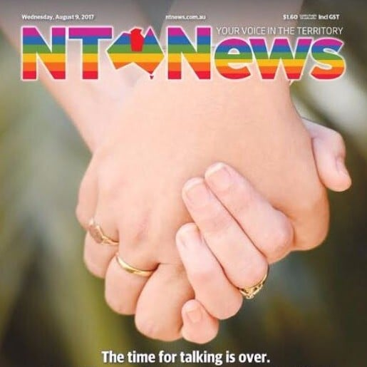 NT News Same-Sex Marriage Front Page August 2017