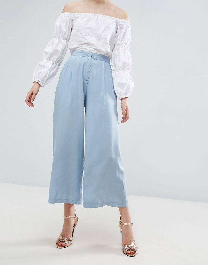 More billowy than your average tailored pants, these Asos trouser-inspired culottes ($45) are proper but fun.
