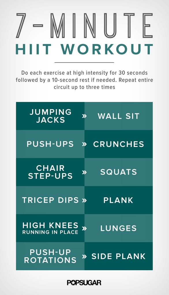 7 minute hiit workout printable poster popsugar fitness