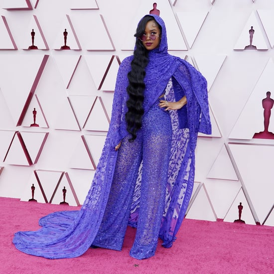 H.E.R.'s Purple Dundas Jumpsuit and Cape at the 2021 Oscars