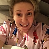 """This is how I feel seeing pics of you getting/giving my book as a holiday gift!"" Lena Dunham captioned this selfie."