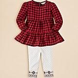 Ralph Lauren Infant Girls' Plaid Tiered Top & Leggings Set