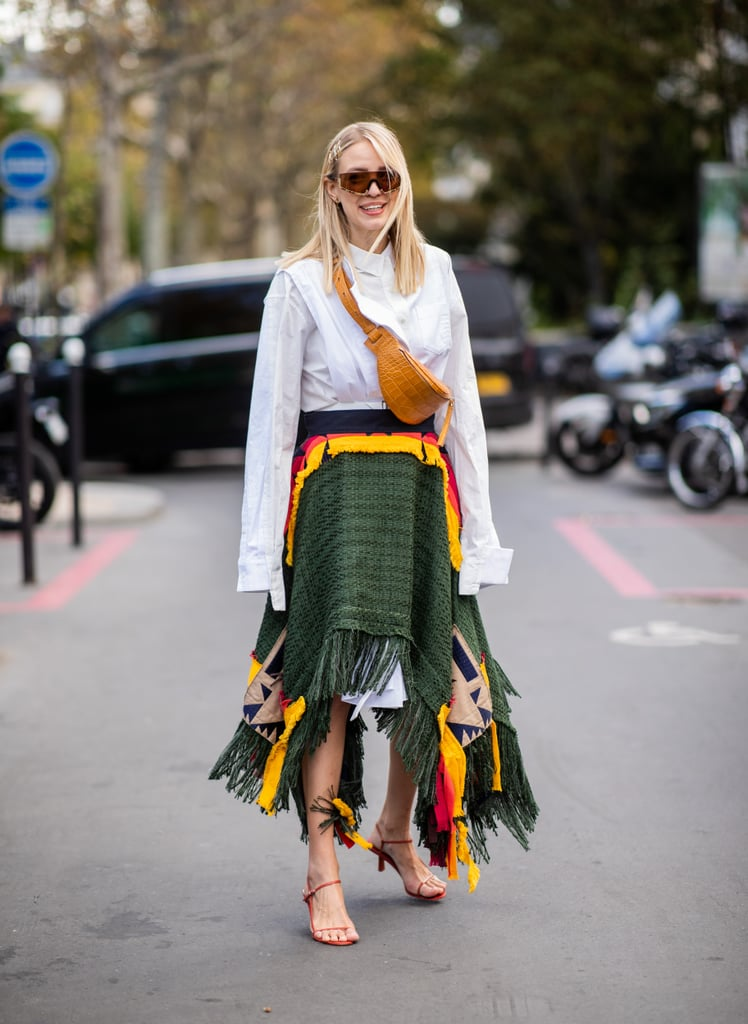 Style a colorful skirt and white blouse with your sandals.