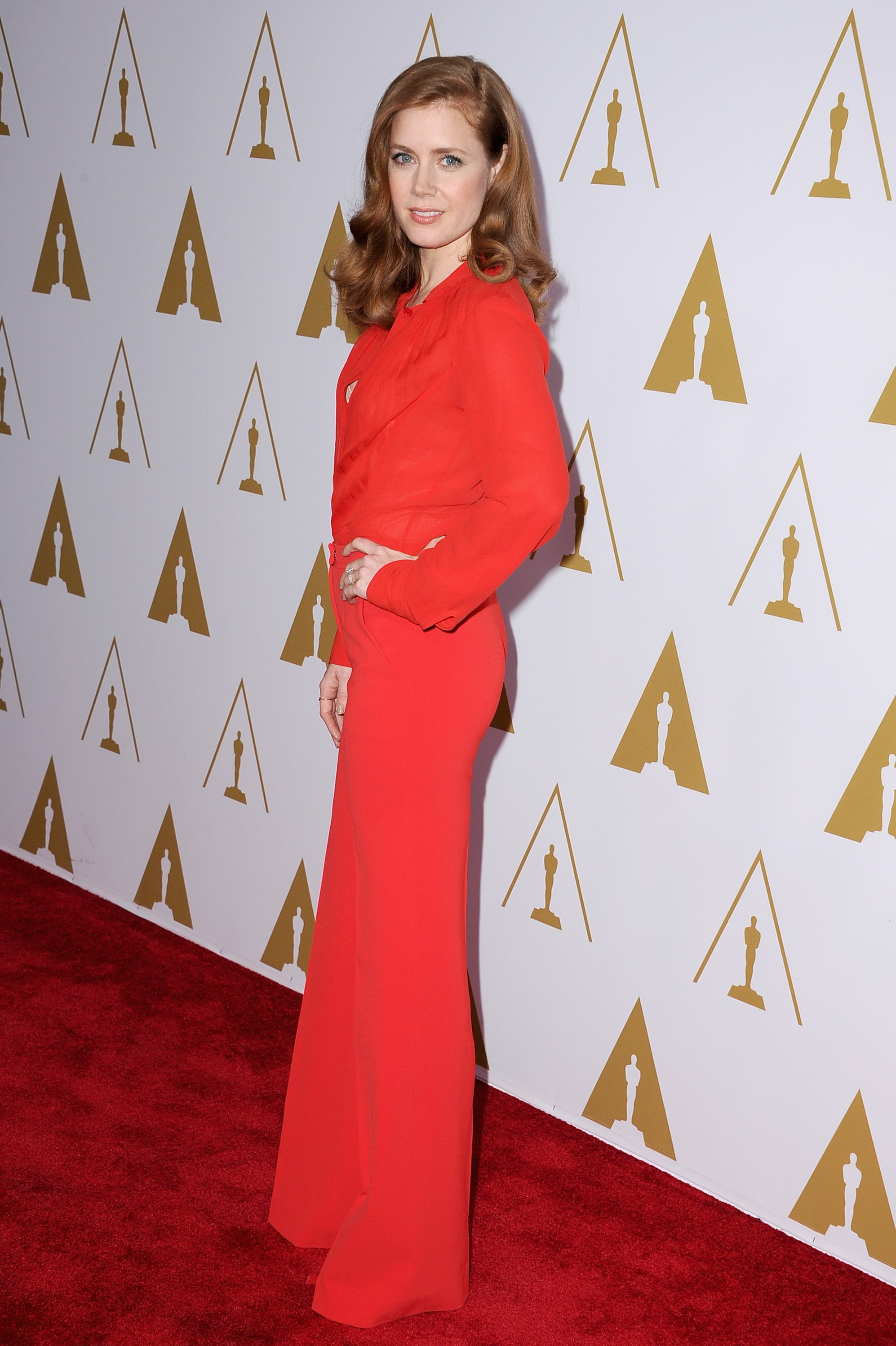 Amy Adams looked ravishing in red.