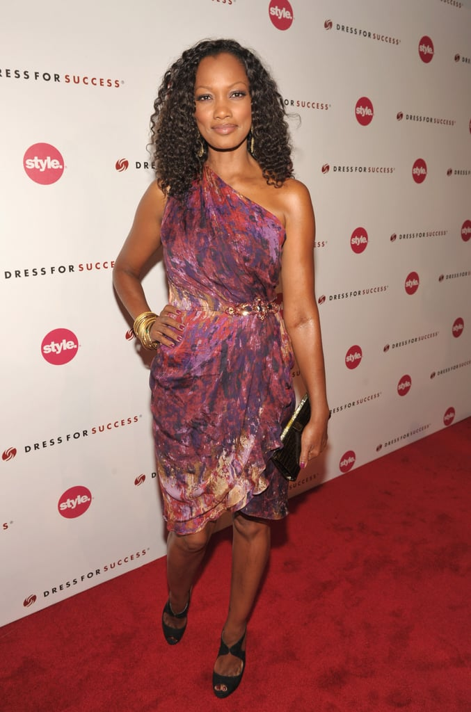 Garcelle Beauvais is party-tastic in this Fab multicolor abstract print dress by David Meister.