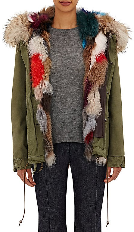 Mr and Mrs Italy Women's Canvas Fur-Trimmed Mini-Parka-Green