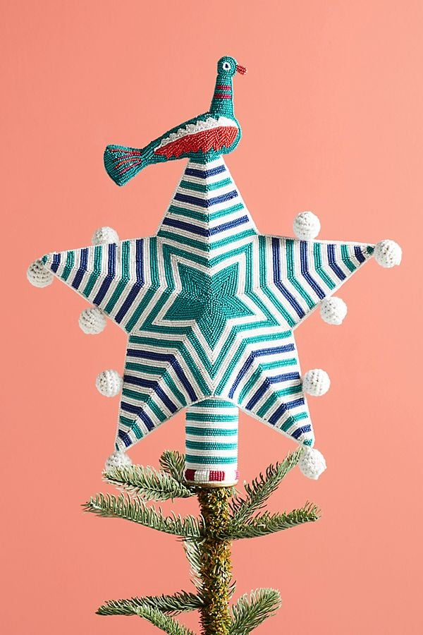 Beaded Star & Bird Tree Topper