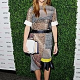 Brooklyn Decker arrived at the Vanity Fair Vanities Calendar party in a matching printed Spring '13 Preen top and skirt set. She styled the graphic look with gray snakeskin Casadei for Prabal Gurung sandals, a colorblocked Pucci clutch, and a watch by Ebel.