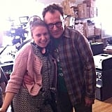 Judd Apatow snapped this shot of Lena Dunham and Colin Quinn on a break from shooting Girls. Source: Twitter user JuddApatow