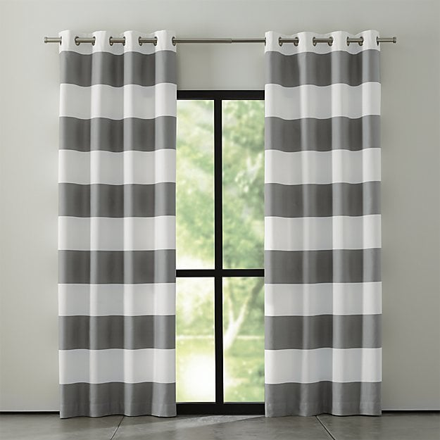 Crate Barrel Alston Ivory Grey Curtains