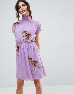 ASOS Premium Open Back Tea Dress With Tiger Embroidery
