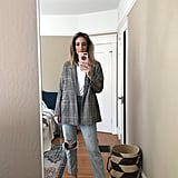 Old Navy Patterned Boyfriend Blazer With Ripped Jeans