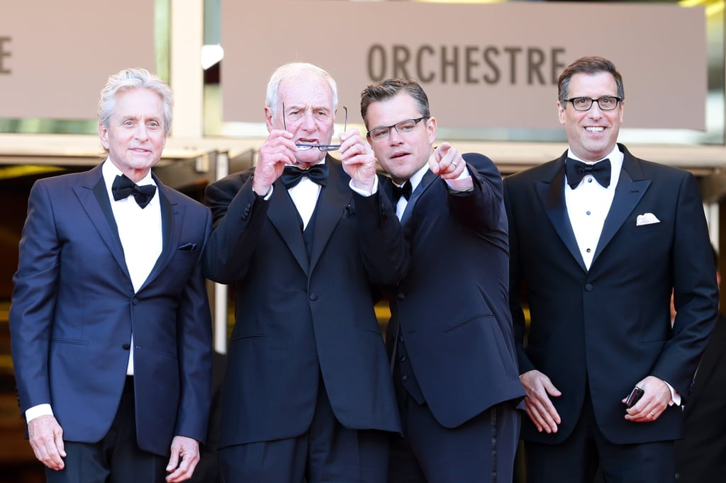 Michael Douglas, Jerry Weintraub, Matt Damon and Richard Lagravenese made a dapper foursome at the premiere of Behind the Candelabra.