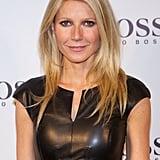 Gwyneth Paltrow wore a black leather dress.
