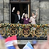 King Willem-Alexander and his wife, Queen Maxima, waved with Princess Beatrix.